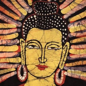 Batik Buddha Cotton Tapestry Wall Hanging India